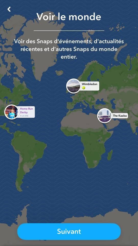 voir le monde carte snapchat