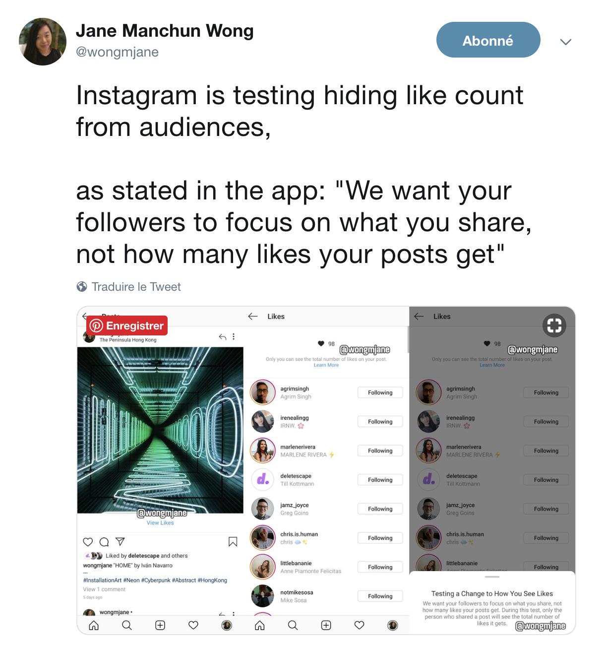 Instagram supprimerait son compteur de likes